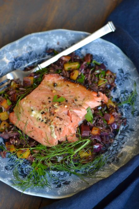 Indian Spiced Salmon Over Wild Rice Medley - Glory Kitchen