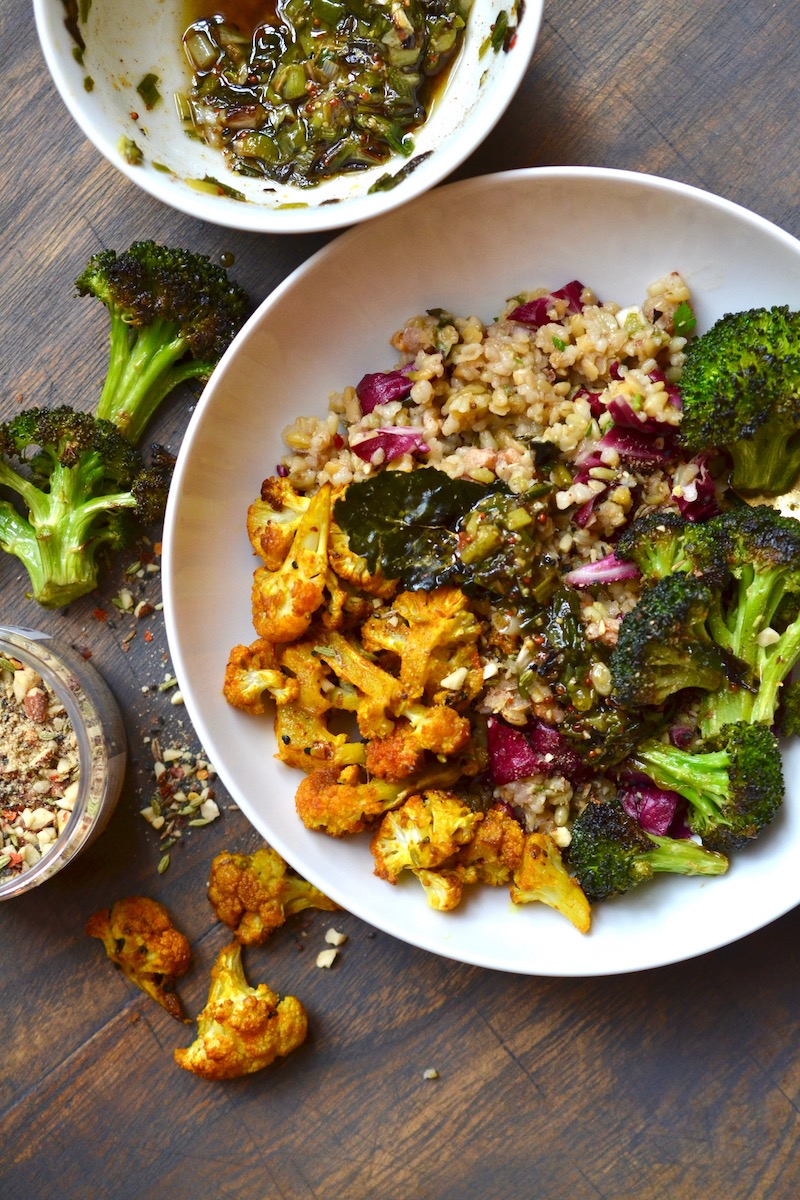Freekeh, Red Lentil and Roasted Veggie Bowl